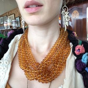 Amber Tone Glass Knot Interlocking C Necklace